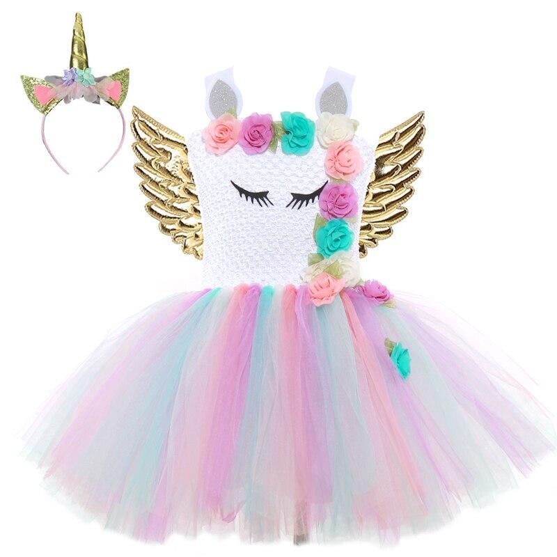2020 платья для девочек с единорогом для девочек, платья принцессы с пачкой для вечеринки, костюм для косплея на день рождения и Хэллоуин, одеж...