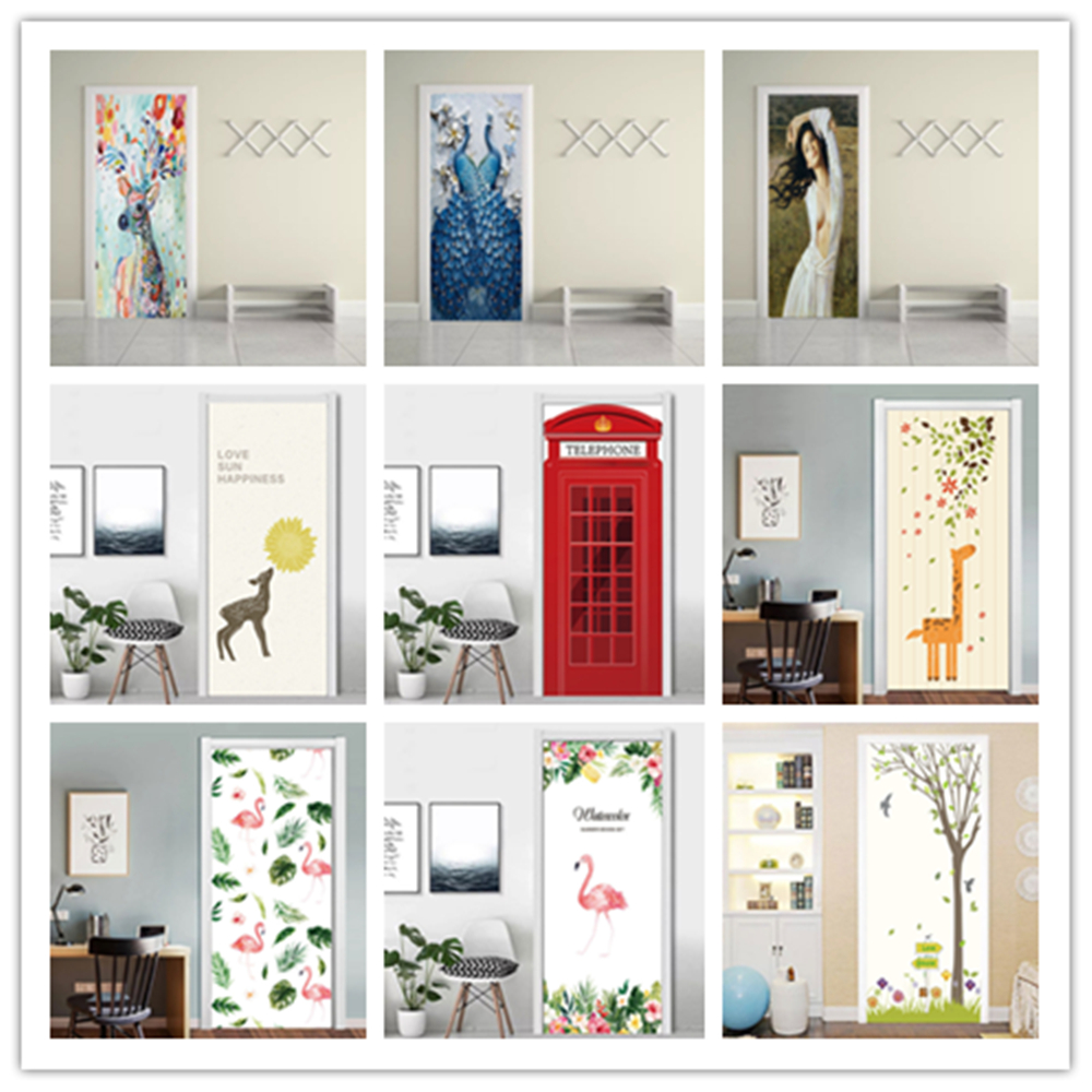 Self Adhesive Bedroom Door Sticker DIY Scenery Renovation Cartoon Flamingo Mural Waterproof Print Picture Home Decor PVC Poster