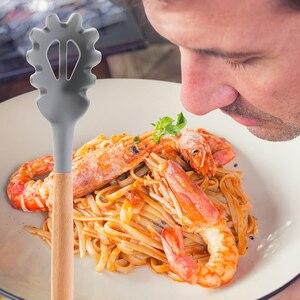 Image 5 - סיליקון בישול כלי מטבח תשמיש סט שאינו מקל חפירה מרית טבעי Acacia עץ ידית מטבח כלים