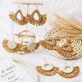 Женские серьги с бахромой из рафии, плетеные висячие серьги ручной работы из ротанга, летние пляжные серьги, ювелирные изделия 2019