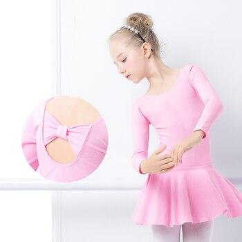 цена на Girls Ballet Leotards Bowknot Dress Kids Long Sleeve Gymnastics Dress Lovely Pink Cotton Gymnastic Leotards for Children