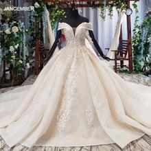 Htl647 vestidos de casamento para mulher com catedral trem fora do ombro vestidos de baile rendas acima vestido de casamento princesa noiva vestido