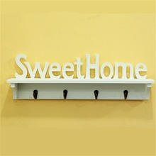 Sweet Home Style Wall Hanger 4 Hooks Organizer Decor Storage Rack NAS Shelf