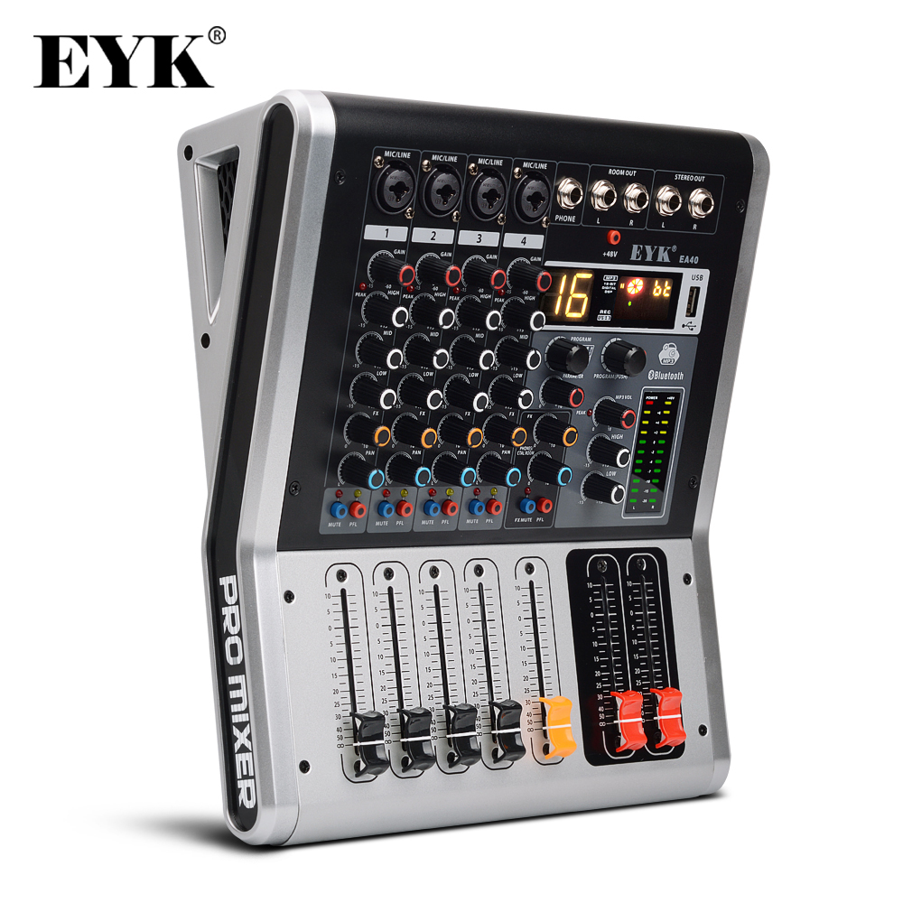 EYK EA40 4 Channels Mixing Console With Mute And PFL Switch Bluetooth Record 3BAND 16 DSP Effect USB Professional Audio Mixer DJ