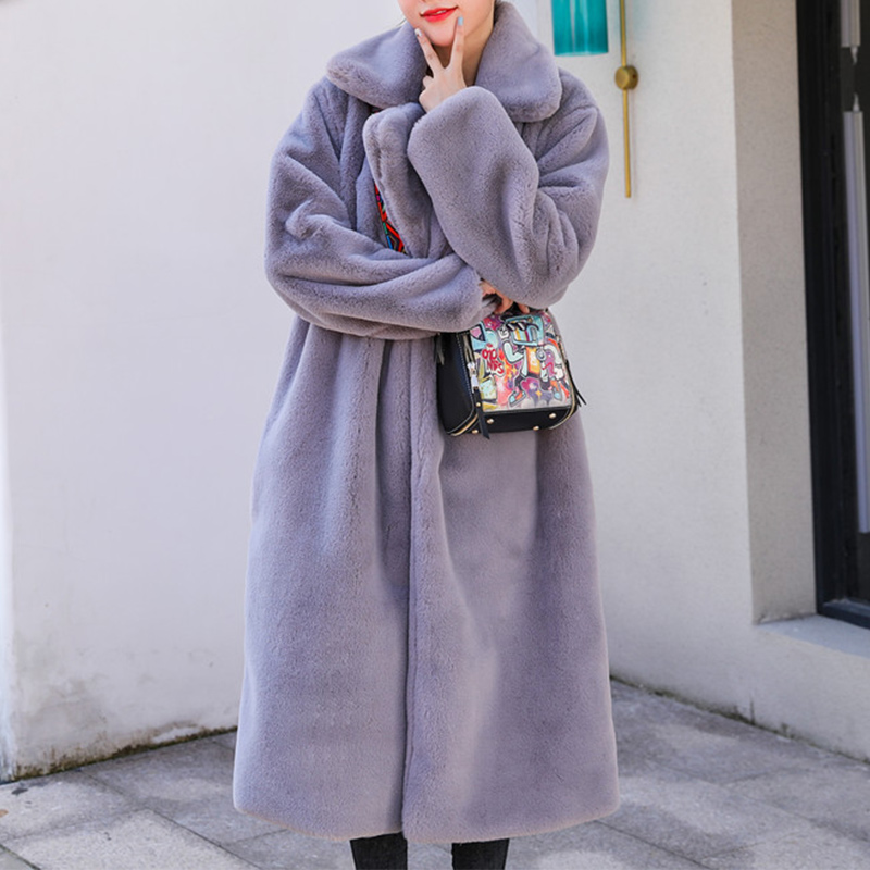 High Quality Faux Rabbit Fur Long Coat Women Winter Thicken Warm Lapel Solid Coats Female Overcoat 2019 Fashion New Outerwear