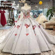 LS91289 luxury ball gown evening dress with color handworking flowers off shoulder sequined party dress with train as photos