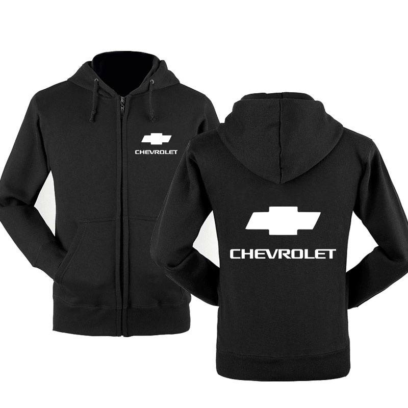 Men Jacket Chevrolet Car Logo Sweatshirt Spring Autumn Fleece Cotton Zipper Hoodies HipHop Harajuku Fashion Male Clothing