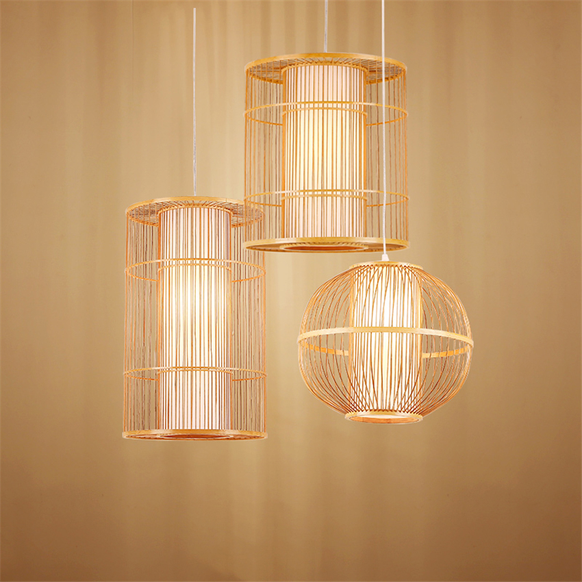 Chinese Bamboo LED Chandeliers Living Room Hotel Lobby Restaurant Pendant Lamp Lighting Bedroom Teahouse Hanging Lamps Luminaire