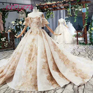 Image 3 - Axjfu 高級王女ビーズクリスタル黄金の花のレースのウェディングドレスヴィンテージボートネック花嫁フリルローズのウェディングドレス 2408