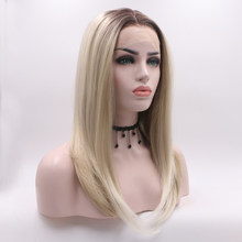 Fantasy Beauty Dark Roots Two Tone Ombre Blonde Wig Short Bob Synthetic PrePlucked With Baby Hair Lace Front Wigs Heat Resistant(China)