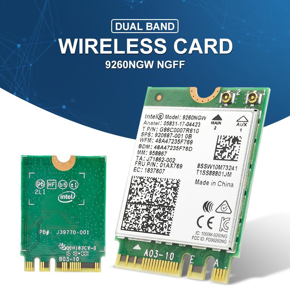 1.73Gbps 9260NGW NGFF Cartão de Rede Wi-fi Sem Fio Dual Band Cartão Wi-fi Sem Fio Bluetooth 5.0 Para Laptop