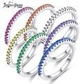Новинка 2018, модное женское обручальное кольцо с разноцветным цирконием для вечеринки, обручальные кольца серебряного цвета с кристаллами д...