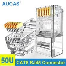 AUCAS UTP موصل شبكة كابل التوصيل 8P8C شبكة CAT6 مقبس تركيبي موصل 2 قطعة دعوى شحن مجاني إيثرنت كابل رئيس التوصيل