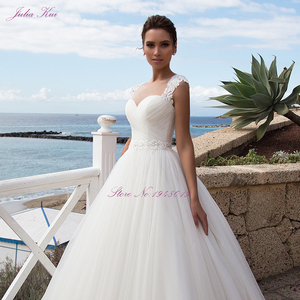 Image 3 - Julia Kui Stunning Tulle A line Hochzeit Kleid Mit Regelmäßige Strap Bodenlangen Hochzeit Kleid Und Elegante Schärpe