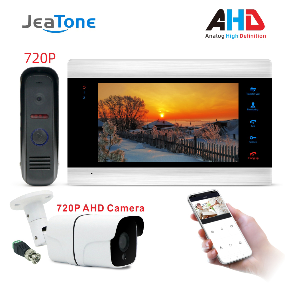 WiFi Smart JeaTone Video Door Phone Intercom Doorbell System Door Speaker 720P AHD Call Panel+7 Inch HD Monitor +720P AHD Camera