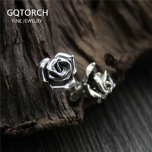 Elegant Real 925 Sterling Silver Handmade Rose Earrings Flowers Earring Studs For Women Artistic Vintage Style Nickel Free