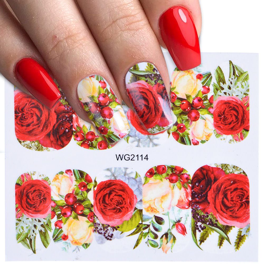 1pcs Stickers For Nails Rose Flowers Designs Sliders Nail Art Decorations Manicure Water Decals Polish Transfer Foils Tip TRWG-1