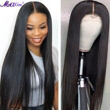 Prosto koronki przodu peruki z ludzkich włosów Maxine włosy prosto Frontal peruka dla kobiet 4x4 zamknięcie peruka 150% proste włosy ludzkie peruki