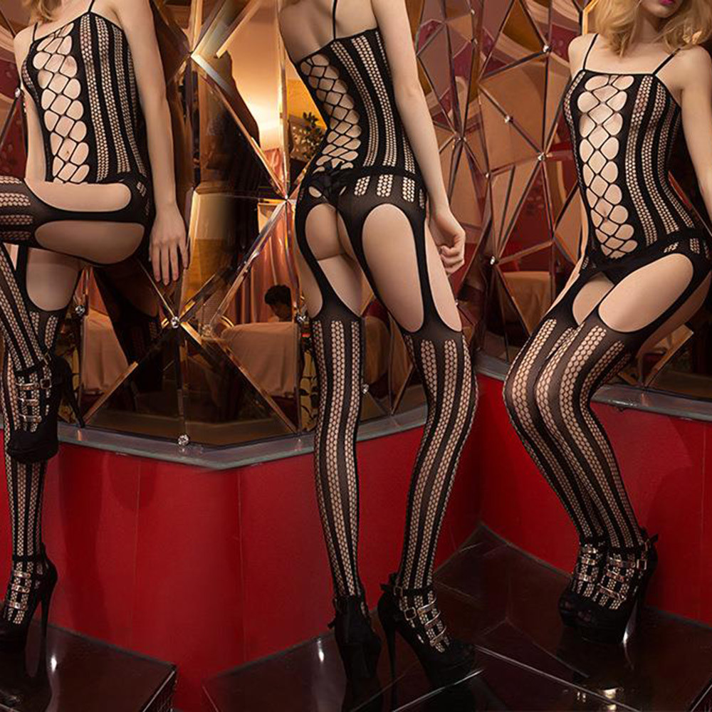 2020 New-coming Women Black Lingerie Sexy Female Hollowed-out Bodysuits Sling Perspective Mesh Underwear Lenceria Jumpsuit set