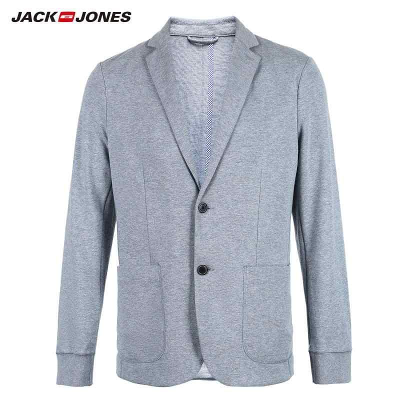 JackJones Laki-laki Dasar Katun & Linen Slim Fit Blazer Lengan Panjang Setelan Baru Merek Pakaian Pria 218308505