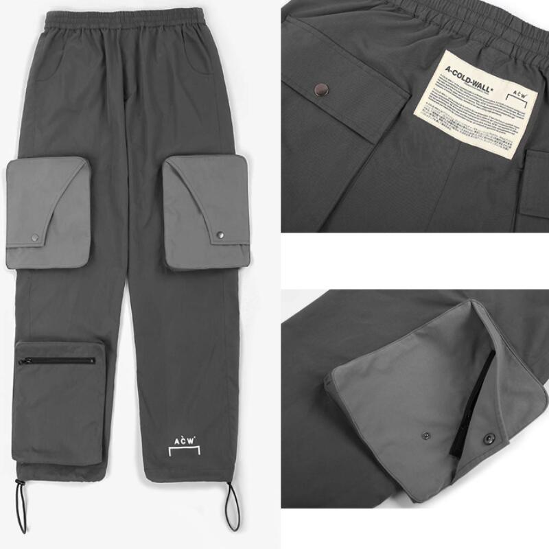 20ss dernier haut de la rue Streetwear ACW A-COLD-WALL pantalon hommes femmes Hip Hop cordon Zipper grande poche Joggers pantalons de survêtement