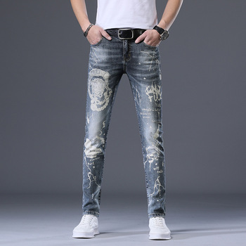 Season Men Jeans Embroidery Hole Washing Water Leisure Trend Elastic Force Trousers