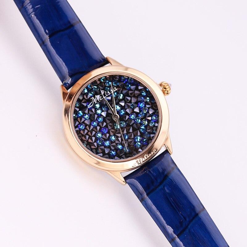 Pulseira de Couro Relógio de Aniversário da Menina Caixa de Presente Luxo Melissa Relógio Feminino Completo Strass Cristal Moda Hora Vestido