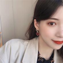 2020 новые красные серьги в форме сердца корейские милые с геометрическим