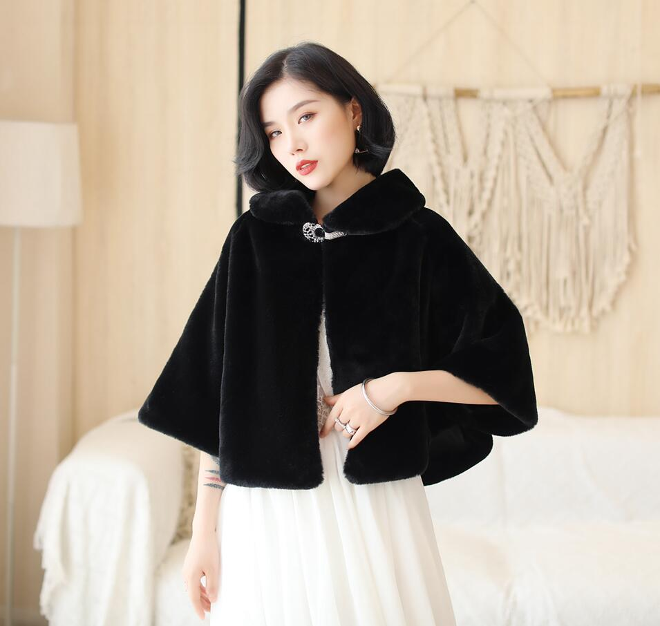 SHAMAI Black Faux Fur Winter Bridal Wrap Warm Ivory Fur Boleros Bridal Cape Evening Coat Wedding Jacket Party Dress Wrap