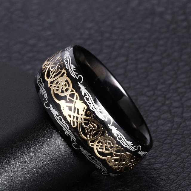 2020 New Arrive Fashion 316L Stainless Steel Golden Dragon Man's Ring Blu-ray Simple Fashion High Quality Jewelry 4