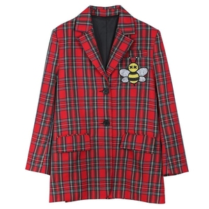 Image 5 - 2020 Autumn cartoon sequins jackets fashion plaid women bf long Blazers