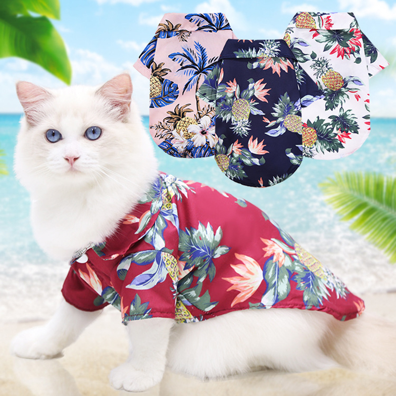 Dog Shirts Clothes Summer Beach Clothes Vest Pet Clothing Floral T-Shirt Hawaiian For Small Large Cat Dog Chihuahua