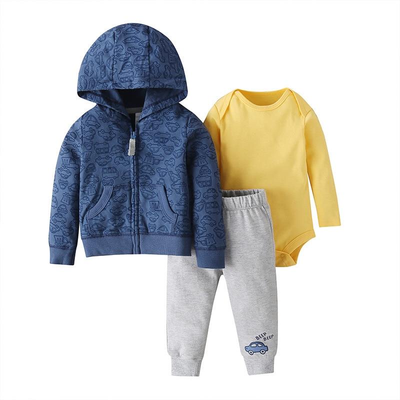 Image 2 - Fashion Spring Boys Set Autumn BABY Girls Long Sleeve 3PCS clothing Hooded sports set baby clothes Girls Baby Outfits PajamasClothing Sets   -