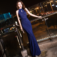It's Yiiya Evening Dress For Girls Navy Blue Shining Sequin Halter Evening Gowns Sleeveless Mermaid Long Elegant Dresses K103