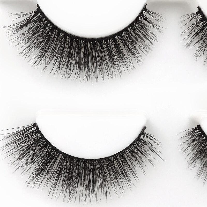 New 3 pairs natural false eyelashes fake lashes long makeup 3d mink lashes extension eyelash mink eyelashes for beauty #X11 5