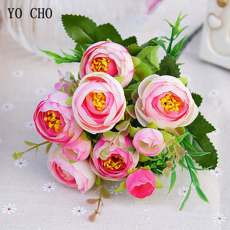 5 Branches Sunshine Silk Roses Artificial Flowers 10 Heads Fake Roses Flores Wedding Bouquet Party Home Table Decorative Flowers