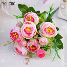 5 oddziałów Sunshine Silk sztuczne kwiaty róży 10 głów sztuczne róże Flores bukiet ślubny strona główna stół kwiaty ozdobne tanie tanio YO CHO 11 8inch 1 5inch 0 08kg 5 Branches Sunshine Silk Roses Artificial Flowers 10 Heads Fake Roses Flores Wedding Bouquet Party Home Table