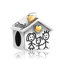 Frete grátis 925 Família Mãe e Filha Charme europeu Ouro Do Amor Do Coração Beads Bead Charme Fit Pandora Charm Bracelet A045