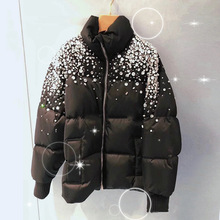 Luxus Strass Baumwolle Padded Mäntel Frauen Winter Warme Brot Jacken Kurze Design 2020 Neue Weibliche Winter Mantel Schwarz Parkas