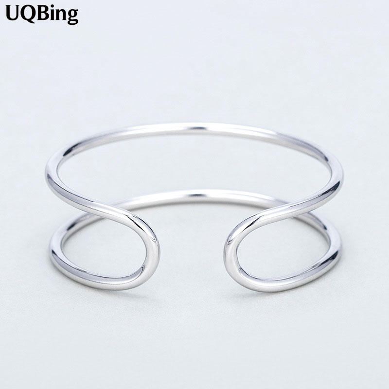925 Silver Bangles Jewelry 925 Sterling Silver Double Layer Cuff Bangles Women Accessories Srebrna bransoletka