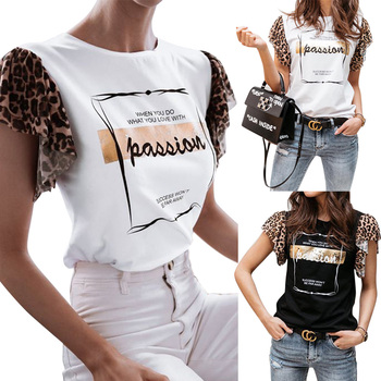 Leopard Short Sleeve Blouses Tops For Women Summer Letter Printed Lady Shirt Fashion Casual White Black Female D30