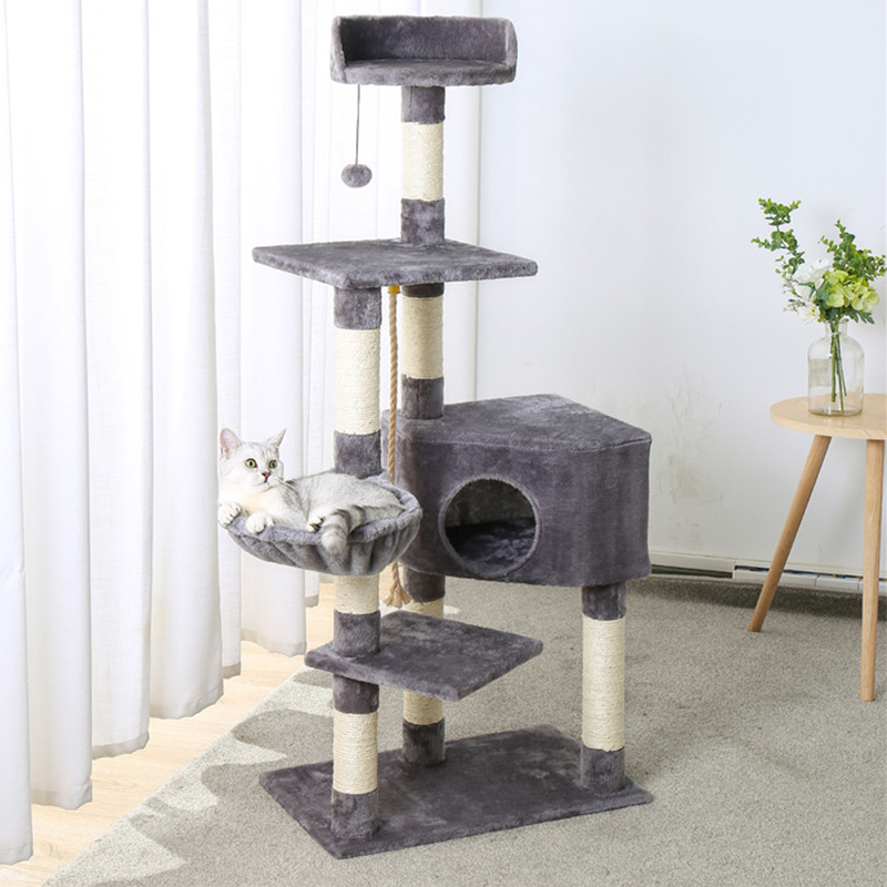 Luxury Cat climbing frame Tree with Sisal-Covered Scratching Posts Cat Tower Furniture Kitty Activity Center Kitten Play House