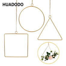 HUADODO Home decor Rattan Ring Hanging Geometric Hoop Wreath Frame Flower Garland For Home Decoration wedding DIY Party Decor(China)