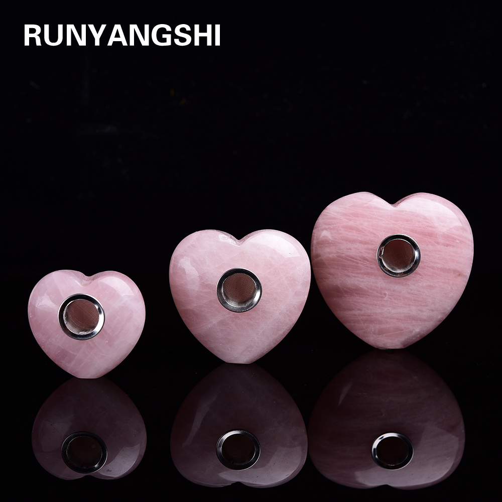 Новый Natutal розовое кварцевая Хрустальная труба розового цвета с украшением в виде кристаллов для некурящих в форме сердца полосатая любовь ...