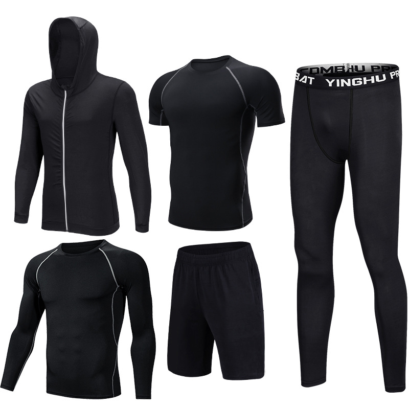 Foto of five elements 5 pcs compressions clothes for gym. Men's 5 pcs compression tracksuit sports