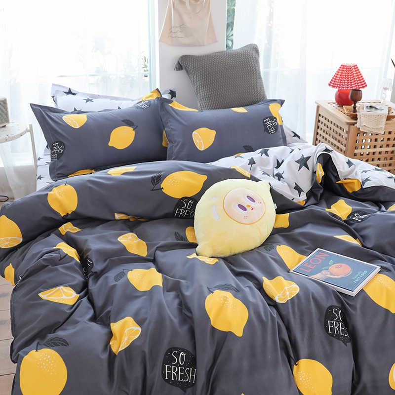 Rinfrescante serie Morbido set di biancheria da letto di Limone di stampa Biancheria Da Letto lato AB copripiumino + lamiera piana federa No quilt