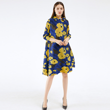Miyake pleated dresses summer 2020 yellow flower print dress lapel cardigan button plus