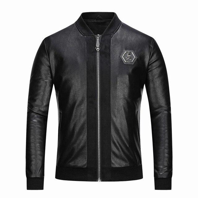 2021 Skull Rhinestones PU Jackets Men Black High Street Stand-Neck Zipper Rib Sleeve Streetwear Motorcycle Faux Leather Coats 2