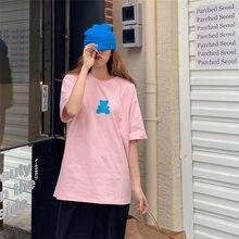 夏の女性のtシャツカジュアルクマプリントルーズ基本コットンシャツ女性半袖oネックかわいいsoild tシャツソフト快適な女性トップス