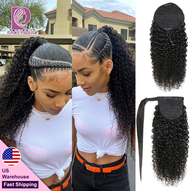 Racily Hair Afro Kinky Curlyหางม้าผมสำหรับผู้หญิงRemyบราซิลห่อรอบDrawstringหางม้าคลิปในHair Extension